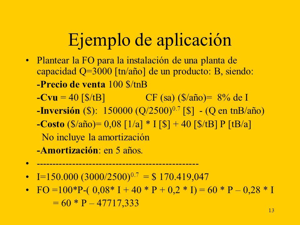 Ejemplo de aplicación Plantear la FO para la instalación de una planta de capacidad Q=3000 [tn/año] de un producto: B, siendo: